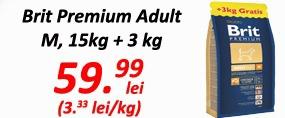 Brit Premium Adult M 15 kg+3kg