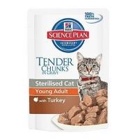 Pachet 5 Plicuri Hill's SP Feline Young Adult Sterilised cu Curcan 85 g