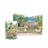 Stuzzy Pack, Vițel și Iepure cu Șuncă, pachet mixt plic hrană umedă pisici, (bucăți în aspic), 85g x 4