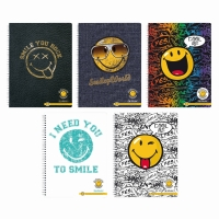 Caiet A4 70 file cu spirala matematica perforat, motiv Smiley World diverse modele
