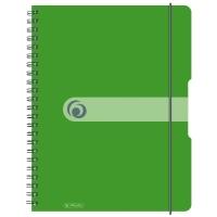 Caiet A4 80 file cu spirala matematica coperta cu elastic 4 perforatii verde opac