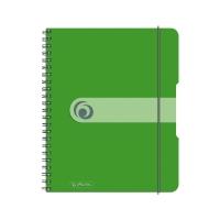 Caiet A5 80 file cu spirala matematica, coperta pp cu elastic 4 perforatii verde opac