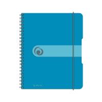 Caiet A5 80 file cu spirala matematica, coperta pp cu elastic 4 perforatii albastru transparent