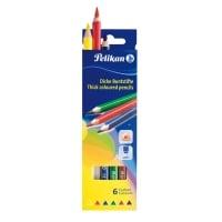 Creioane color, triunghiulare, groase, set 6 culori, varf 4,0mm, lung. 17,5cm, Pelikan