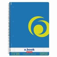 Caiet A4 80 file cu spirala matematica perforat, motiv albastru Intens