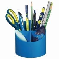 Suport plastic pentru instrumente de scris, rotund, 4 compartimente albastru intens Herlitz