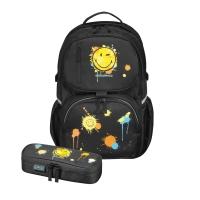 Rucsac Be.Bag ergonomic+necessaire Cube dimensiune 32x44x23cm, motiv Smiley World Editie Black Herlitz