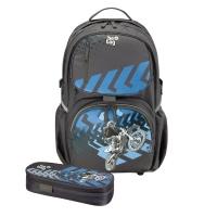 Rucsac Be.Bag ergonomic+necessaire Cube dimensiune 32x44x23cm, motiv Motorracer Bundle Herlitz