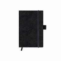 Bloc Notes A6 96 file dictando coperta din piele sintetica cu elastic, motiv My Book Classic negru