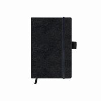 Bloc Notes A6 96 file veline coperta din piele sintetica cu elastic, motiv My Book Classic negru