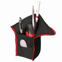 Necessaire/suport instrumente de scris, dimensiune 10,5x5,5x19,5cm negru/rosu Herlitz