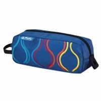 Necessaire Be.Bag Quattro, dimensiune 20,5x8x6,5cm, motiv Bubbles albastru Herlitz