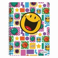 Caiet A4 70 file cu spirala matematica perforat, motiv Smiley World Happy