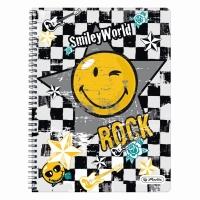 Caiet A4 70 file cu spirala matematica perforat, motiv Smiley World Rock