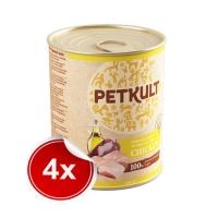 Pachet 4 Conserve Petkult Adult Dog Pui 800g