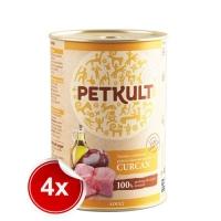 Pachet 4 Conserve Petkult Adult Dog Curcan 800 g