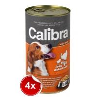Pachet 4 Conserve Calibra Dog Curcan Pui si Paste 1240 g