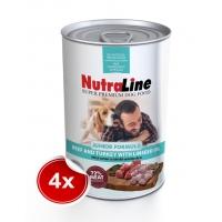Pachet 4 Conserve Nutraline Dog Junior cu Vita/Curcan si Ulei de In 800 g