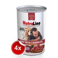 Pachet 4 Conserve Nutraline Dog Adult Monoprotein cu Vita si Ulei de In, 800 g