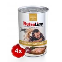 Pachet 4 Conserve Nutraline Dog Adult Monoprotein cu Pui si Ulei de Floarea-Soarelui, 800 g