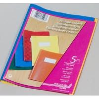 Coperta PP cu eticheta, pentru caiet A5, 5 buc/set, AURORA - culori asortate