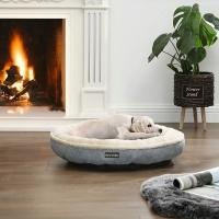 FEANDREA, pat câini și pisici, M, rotund, gri deschis, 65 x 12 cm