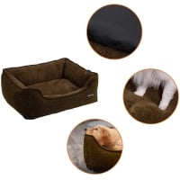 FEANDREA, pat câini și pisici, L, husă detașabilă, maro, 90 x 75 x 25 cm