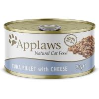 APPLAWS, File Ton și Brânză, pachet economic conservă hrană umedă pisici, (în supă), 70g x 6
