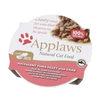 APPLAWS, File Ton și Crab, bol hrană umedă pisici, (în supă), 60g