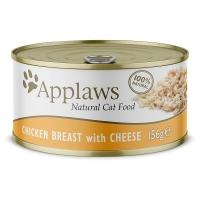 APPLAWS, Piept Pui și Brânză, pachet economic conservă hrană umedă pisici, (în supă), 70g x 6