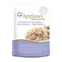 APPLAWS, Piept Pui și Ficat, plic hrană umedă pisici, (în supă), 70g