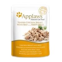 APPLAWS, Piept Pui și Vită, plic hrană umedă pisici, (în supă), 70g
