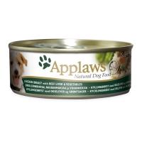APPLAWS, Pui, Ficat Vită și Legume, conservă hrană umedă câini, (în supă), 156g