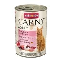 CARNY, Curcan, Pui și Creveți, conservă hrană umedă pentru pisici, (In aspic), 400g