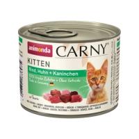 CARNY, Junior, Vită, Pui și Iepure, conservă hrană umedă pentru pisici, (In aspic), 200g