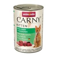 CARNY, Junior, Vită, Pui și Iepure, conservă hrană umedă pentru pisici, (In aspic), 400g