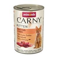 CARNY, Junior, Vită, Vițel și Pui, conservă hrană umedă pentru pisici, (In aspic), 400g