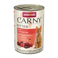 CARNY, Junior, Vită și Inimă Curcan, conservă hrană umedă pentru pisici, (In aspic), 400g