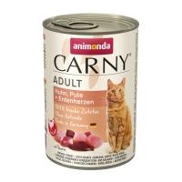 CARNY, Pui, Curcan și Rață, conservă hrană umedă pentru pisici, (In aspic), 400g