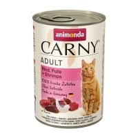 CARNY, Vită, Curcan și Creveți, conservă hrană umedă pentru pisici, (In aspic), 400g