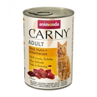 CARNY, Vită, Pui și Inimă de Rață, conservă hrană umedă pentru pisici, (In aspic), 400g