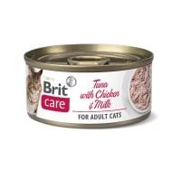 BRIT Care Fillets, Ton și Pui cu Lapte, conservă hrană umedă conținut redus cereale pisici, (în suc propriu), 70g