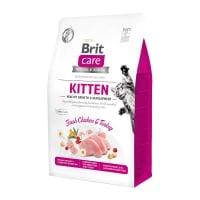 BRIT Care Kitten Healthy Growth & Development, Pui și Curcan, hrană uscată fără cereale pisici junior, 400g