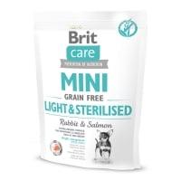 BRIT Care Mini Light & Sterilised, XS-S, Iepure, hrană uscată fără cereale câini sterilizați, 400g