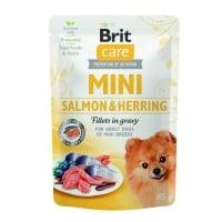 BRIT Care Mini Sterilised, XS-S, File Somon și Herring, plic hrană umedă câini steilizați, (în sos), 85g