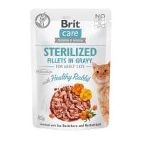 BRIT Care Sterilized Fillets In Gravy, Iepure, plic hrană umedă fără cereale pisici sterilizate, (în sos), 85g