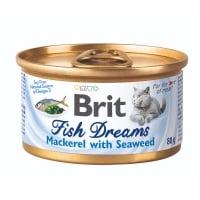 BRIT Fish Dreams, Macrou cu Alge, conservă hrană umedă pisici, (în suc propriu), 80g