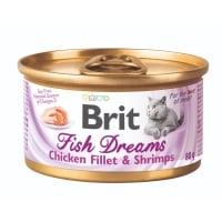 BRIT Fish Dreams, Pui și Creveți, conservă hrană umedă pisici, (în suc propriu),  80g