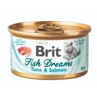 BRIT Fish Dreams, Ton și Somon, conservă hrană umedă pisici, (în suc propriu), 80g