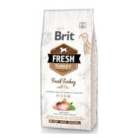 BRIT Fresh Fit & Slim Adult S-XL, Curcan cu Mazăre, pachet economic hrană uscată conținut redus cereale câini, managemetul greutății, 12kg x 2
